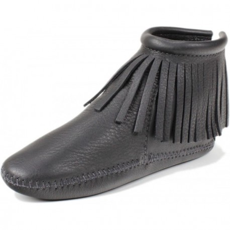 Women's Trimbelle ''Ebony w/Long Fringe'' Moccasin Bootlet
