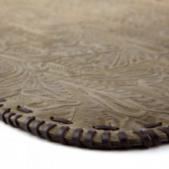 Platte Hand-laced Leather Placemat - Olive