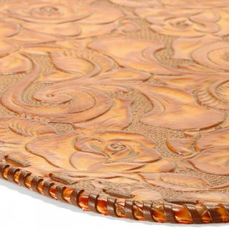 Platte Hand-laced Leather Placemat - Caramel Rose
