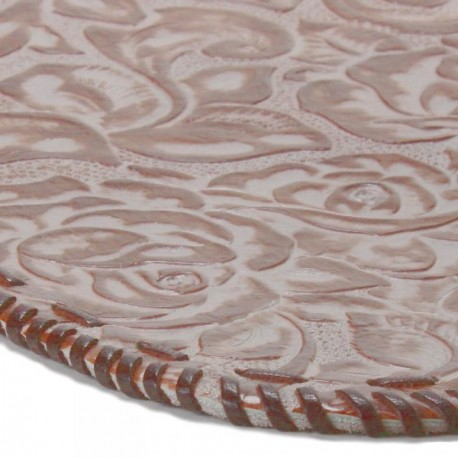 Platte Hand-laced Leather Placemat - Granite Rose