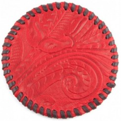 Watab Hand-laced Leather Coaster - Red
