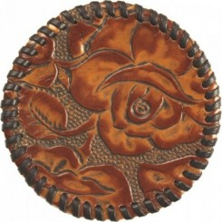 Watab Hand-laced Leather Coaster - Caramel Rose