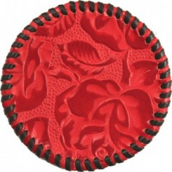 Watab Hand-laced Leather Coaster - Red Rose