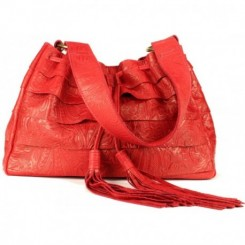 Galena Shoulder Handbag - Red Embossed