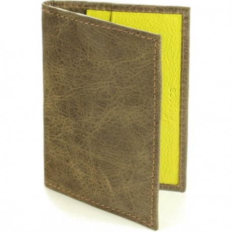 Calamus Credit Card Wallet - in Dark Taupe Lime