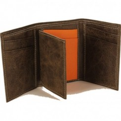 Cannon Trifold Wallet - in Dark Taupe Orange