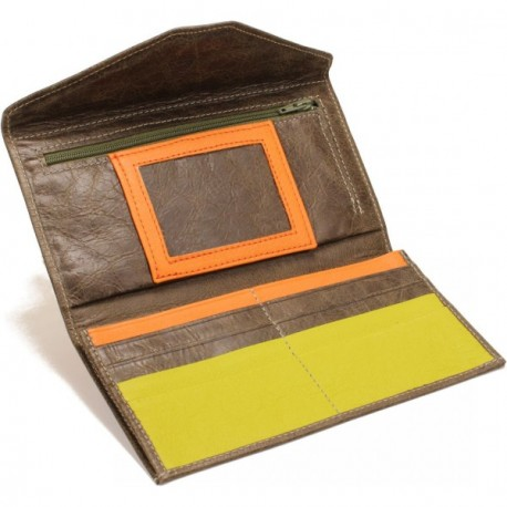 L'Anguille Women's Wallet - in Dark Taupe Orange Lime