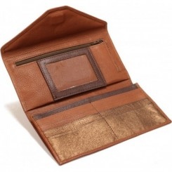 L'Anguille Women's Wallet - in Cork Brandy Met. Bronze