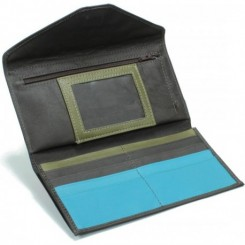 L'Anguille Women's Wallet - in Dk Brown Olive Turquoise